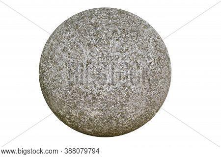 Large Stone Ball Isolated On White Background.