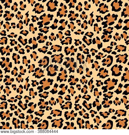 Leopard Print Background. Animal Seamless Pattern With Hand Drawn Leopard Spots. Black And Beige Wal
