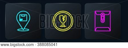 Set Line Location With Cardboard Box, Envelope And Fragile Broken Glass. Black Square Button. Vector