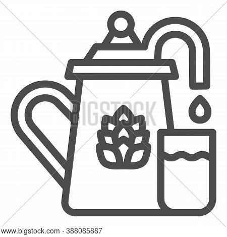 Beer Fermentation Line Icon, Craft Beer Concept, Equipment For Filtration And Brewing Sign On White