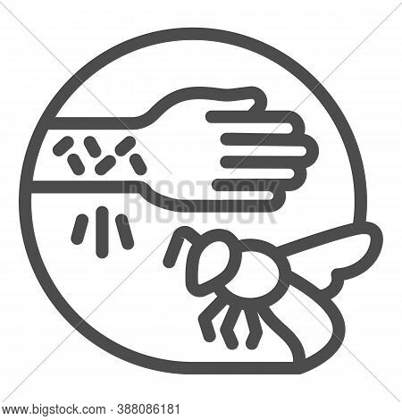 Wasp Sting Allergy Line Icon, Allergy Concept, Allergies To Insect Stings Sign On White Background,