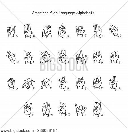 Hand Gestures Showing A-z Letters Line Icons Set. Fingerspelling American Language. Sign Alphabet Fo
