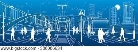 City Scene, People Walk Down The Street, Passengers Leave Bus And Tram, Night City, Illuminated High