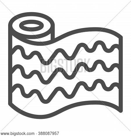 Wallpaper Roll Line Icon, House Repair Concept, Finishing Wall Materials Sign On White Background, W