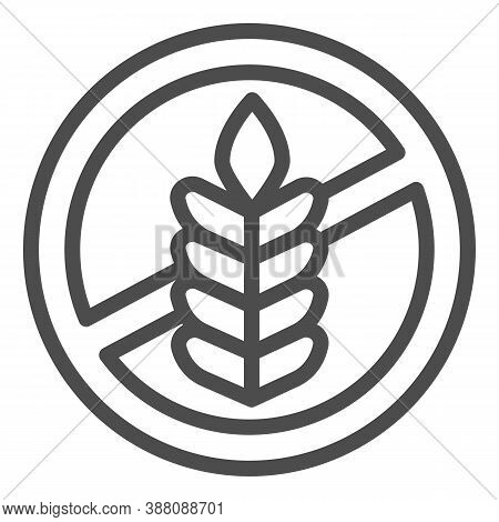 Food Allergy To Wheat Line Icon, Allergy Concept, Gluten Free Sign On White Background, Branch With