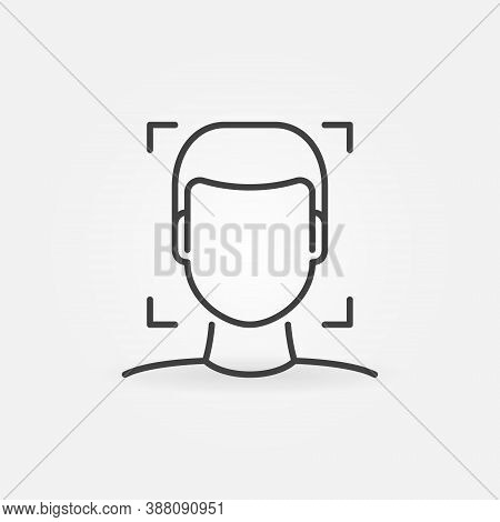 Human Face Recognition And Authentication Linear Vector Concept Icon Or Logo Element