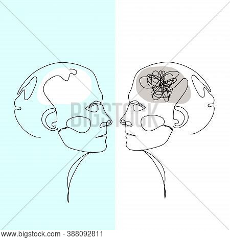 Line Drawing Of Two Human Heads With Confused Thoughts In One Brain And Clear In Another. Vector Ill