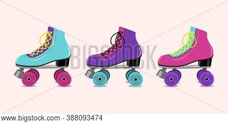 Vector Illustration With Retro Roller Skates On Pink  Background.