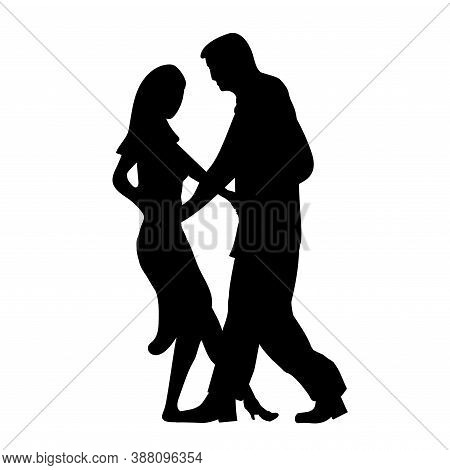Man And Girl Dance Silhouette, Music Dancing A Sensual Social Dances. The Black And White Image Isol