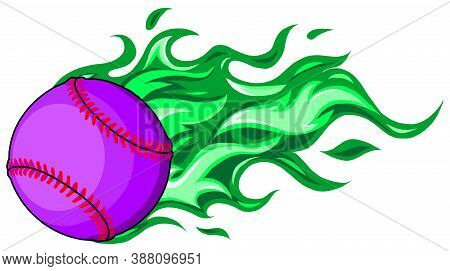 Baseball With Flames In White Background Vector Illustration