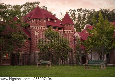 Toronto, Canada - 10 09 2018: Casa Loma Stables Building Under The Sunset Sky. Casa Loma Is A Gothic