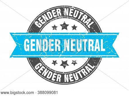 Gender Neutral Round Stamp With Ribbon. Label Sign