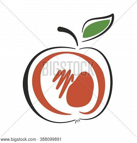 Stylized Hand-drawn Apple With A Leaf. Red, Green, Black Colors. Vector Illustration In Cartoon Flat