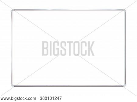 Rectangle Realistic Frame Metal Or Silver With Rounded Corners. Slender On White Background. Steel,