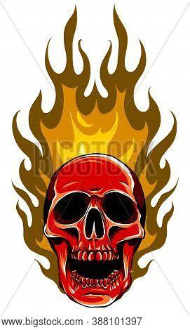 Skull In Fire Tattoo Design. Hand Drawn Vector