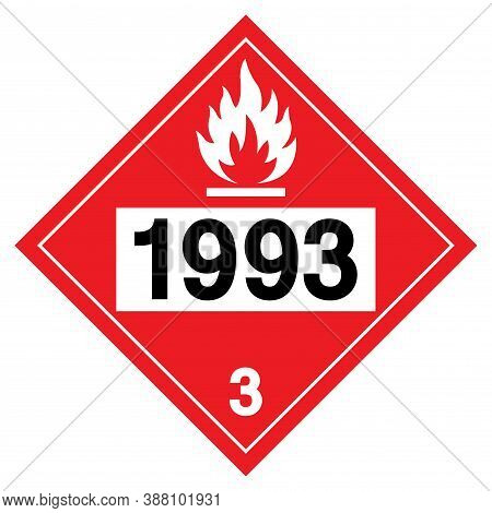 Flammable Liquids Un1993 Symbol Sign, Vector Illustration, Isolate On White Background, Label .eps10