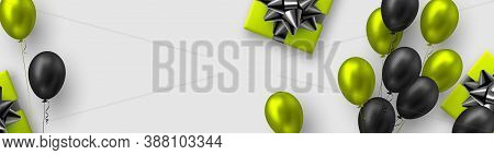 Glossy Balloons In Green And Black Colors With Gift Box. Vector Balloons Background For Holidays Or