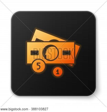 Orange Glowing Neon Stacks Paper Money Cash Icon Isolated On White Background. Money Banknotes Stack