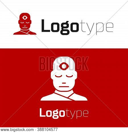 Red Man With Third Eye Icon Isolated On White Background. The Concept Of Meditation, Vision Of Energ