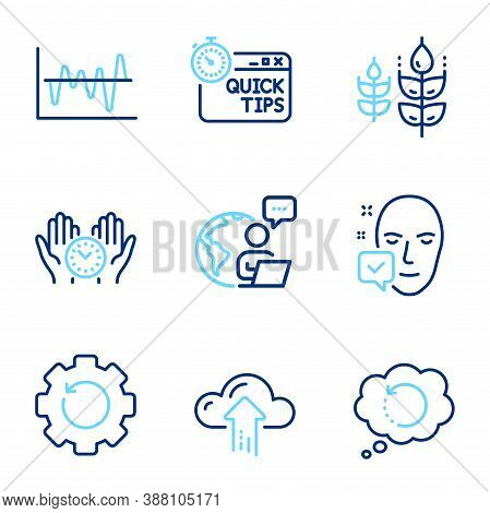 Science Icons Set. Included Icon As Safe Time, Stock Analysis, Recovery Gear Signs. Cloud Upload, Gl