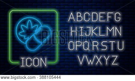 Glowing Neon Herbal Ecstasy Tablets Icon Isolated On Brick Wall Background. Neon Light Alphabet. Vec