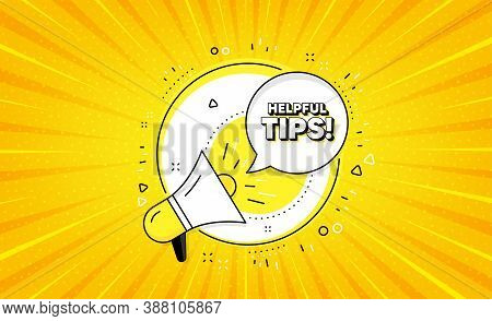 Helpful Tips Symbol. Yellow Vector Button With Megaphone. Education Faq Sign. Help Assistance. Helpf