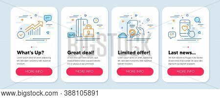 Set Of Technology Icons, Such As Certificate, Blocked Card, Demand Curve Symbols. Mobile App Mockup