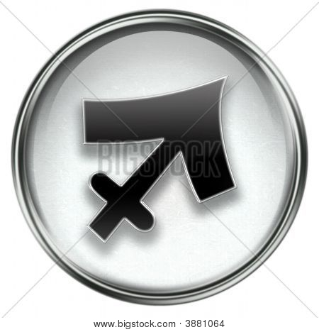 Sagittarius Zodiac Button Icon Grey