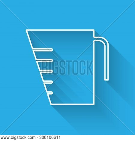 White Line Measuring Cup To Measure Dry And Liquid Food Icon Isolated With Long Shadow. Plastic Grad