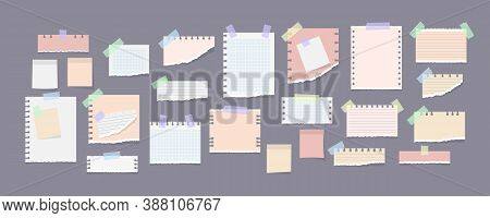 Paper Notes On Stickers, Notepads And Memo Messages Torn Paper Sheets. White And Colorful Striped No