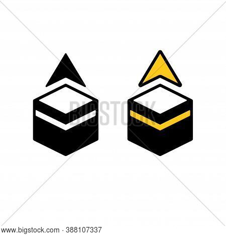 Qibla, Muslim Prayer Direction. Simple Pictogram Icon Of Kaaba In Mecca With Pointing Arrow. Black A