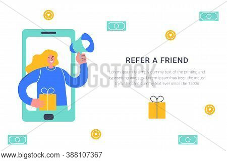 Refer A Friend Concept. Attract Friend. Blonde Girl Shouts On Megaphone About Referral Program Frien