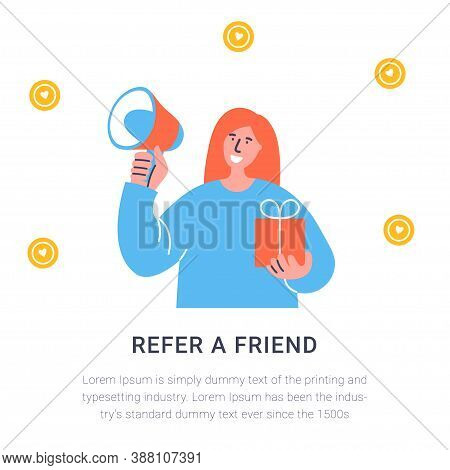 Refer A Friend Concept. Attract Friend. Red Haired Girl Shouts On Megaphone About Referral Program R