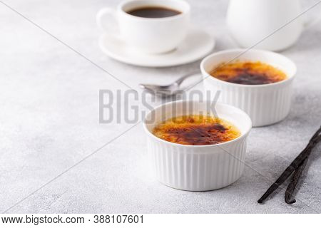 Creme Brulee. French Vanilla Cream Dessert With Caramelised Sugar, Selective Focus.