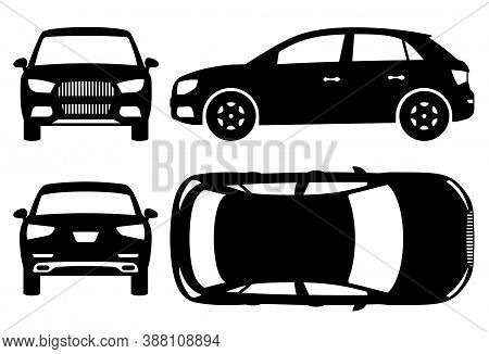 Suv Car Silhouette On White Background. Vehicle Icons Set View From Side, Front, Back, And Top