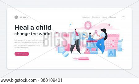 Children Cure Salvation For World Home Page Banner. Male Character Doctor Making Vaccination To Chil
