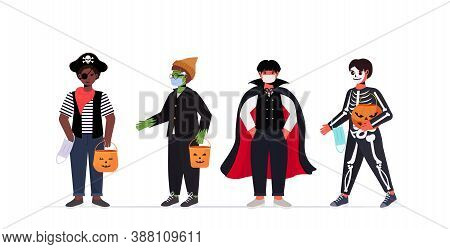 Set Guys In Masks Wearing Different Costumes Happy Halloween Party Celebration Coronavirus Quarantin