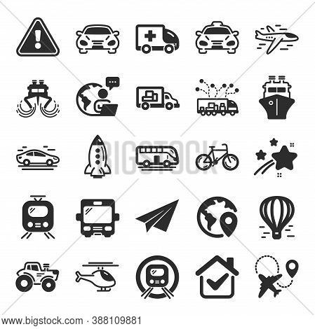 Transport Icons. Taxi, Helicopter And Subway Train Icons. Truck Car, Tram And Air Balloon Transport.