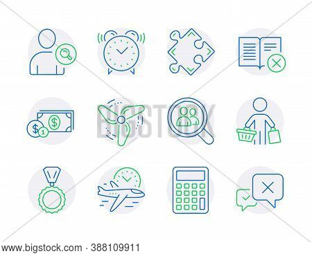 Business Icons Set. Included Icon As Calculator, Wind Energy, Flight Time Signs. Reject Book, Find U