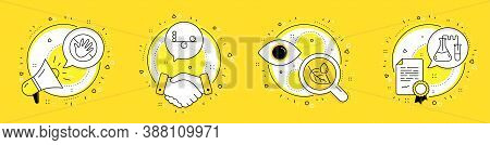 Leaf Dew, Do Not Touch And Balance Line Icons Set. Megaphone, Licence And Deal Vector Icons. Chemist