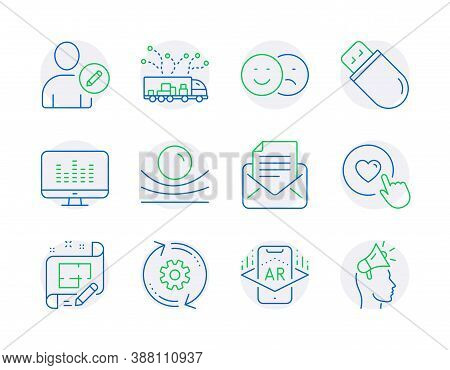 Technology Icons Set. Included Icon As Mail Correspondence, Augmented Reality, Like Signs. Cogwheel,