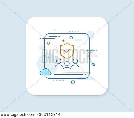 Security Agency Line Icon. Abstract Square Vector Button. Body Guard Sign. Private Protection Symbol