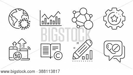 Integrity, 5g Internet And Medical Drugs Line Icons Set. Infochart, Copyright And Settings Gear Sign