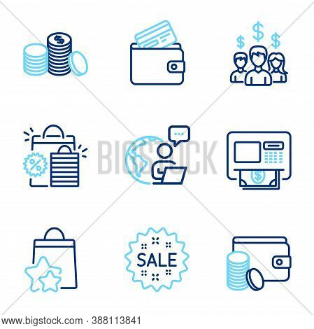 Finance Icons Set. Included Icon As Shopping Bags, Sale, Atm Signs. Debit Card, Salary Employees, Lo