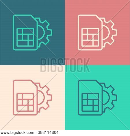 Pop Art Line Sim Card Setting Icon Isolated On Color Background. Mobile Cellular Phone Sim Card Chip