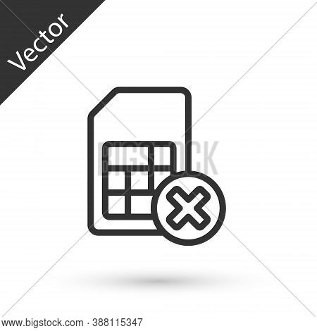 Grey Line Sim Card Rejected Icon Isolated On White Background. Mobile Cellular Phone Sim Card Chip.
