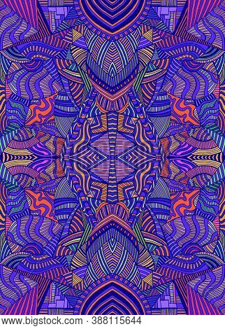 Intricate Psychedelic Colorful Background With Many Crazy Pattern. Decorative Surreal Abstract Manda