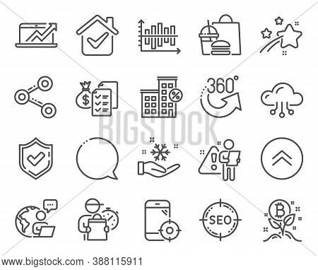 Technology Icons Set. Included Icon As Sales Diagram, Seo, Diagram Chart Signs. Speech Bubble, Bitco