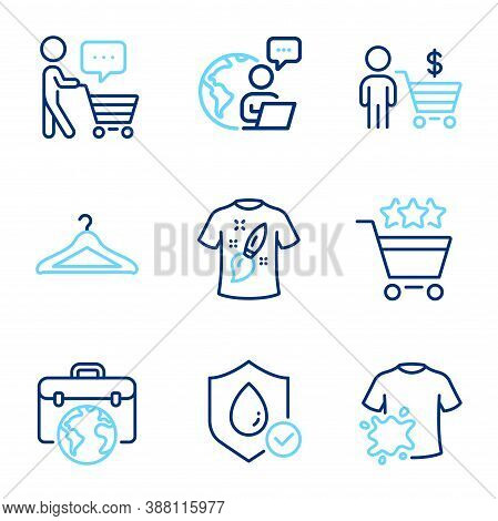 Fashion Icons Set. Included Icon As Dirty T-shirt, Buyer Think, Buyer Signs. T-shirt Design, Shoppin
