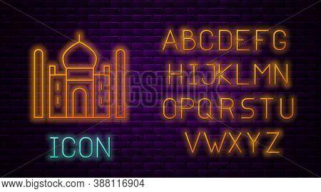 Glowing Neon Line Taj Mahal Mausoleum In Agra, Indiaicon Isolated On Brick Wall Background. Neon Lig